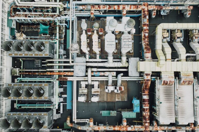 Aerial view of a secure industrial site