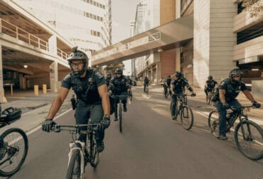 Group of mobile patrol officers on bikes