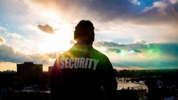 Las Vegas Security Guard Looking at the sky